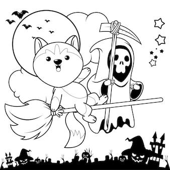 Libro para colorear de halloween con lindo husky1