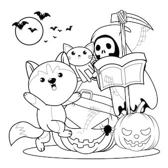 Libro para colorear de halloween con lindo husky21