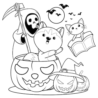 Libro para colorear de halloween con lindo husky22