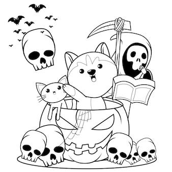 Libro para colorear de halloween con lindo husky25