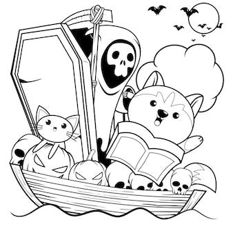 Libro para colorear de halloween con lindo husky27