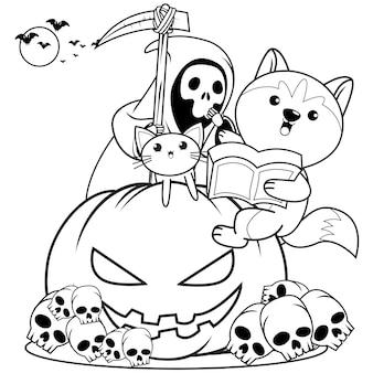 Libro para colorear de halloween con lindo husky29