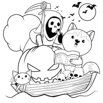 Libro de colorear de halloween con lindo husky30