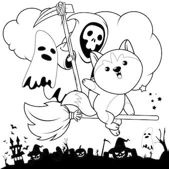 Libro para colorear de halloween con lindo husky3