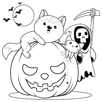 Libro para colorear de halloween con lindo husky8