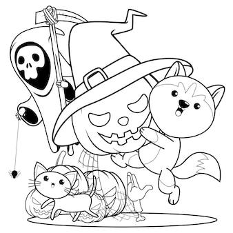 Libro para colorear de halloween con lindo husky