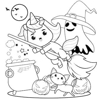 Libro para colorear de halloween con lindo unicornio10