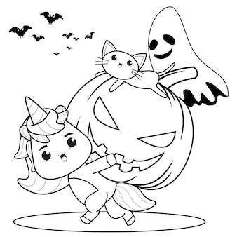 Libro para colorear de halloween con lindo unicornio12