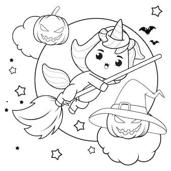 Libro para colorear de halloween con lindo unicornio1