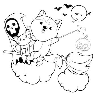 Libro para colorear de halloween con lindo unicornio20