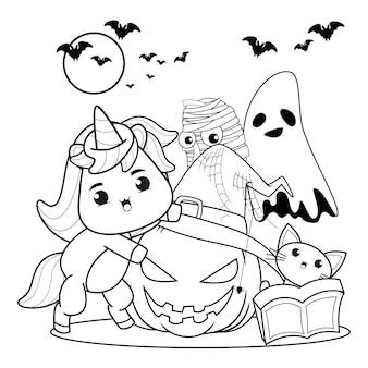 Libro para colorear de halloween con lindo unicornio21