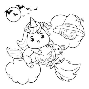 Libro para colorear de halloween con lindo unicornio23