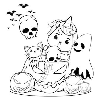 Libro para colorear de halloween con lindo unicornio25