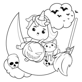 Libro para colorear de halloween con lindo unicornio26