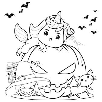 Libro para colorear de halloween con lindo unicornio8