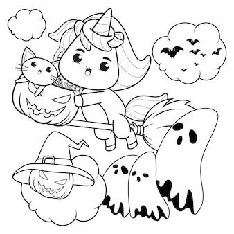 Libro para colorear de halloween con lindo unicornio