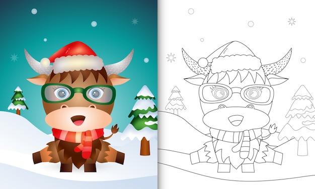 Libro para colorear con un lindo búfalo personajes navideños con sombrero y bufanda de santa
