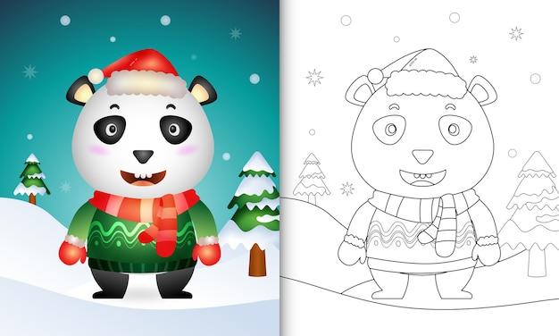 Libro para colorear con un lindo panda personajes navideños
