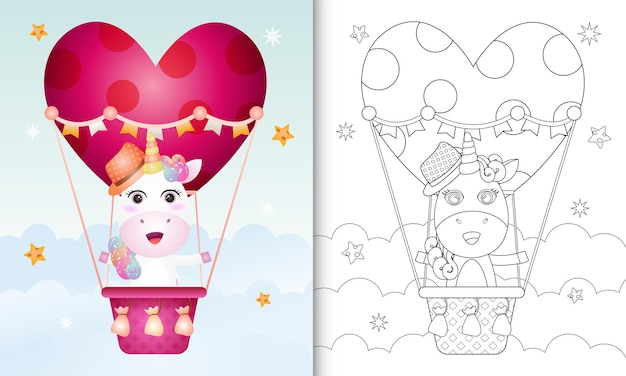 Libro para colorear con un lindo unicornio macho en globo aerostático con tema de amor día de san valentín