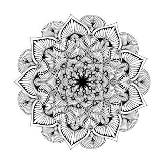Libro de colorear de mandalas, forma de la flor, terapia oriental, vector de los logotipos de la yoga.