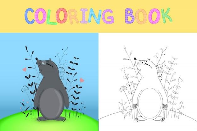Libro para colorear para niños con animales de dibujos animados.