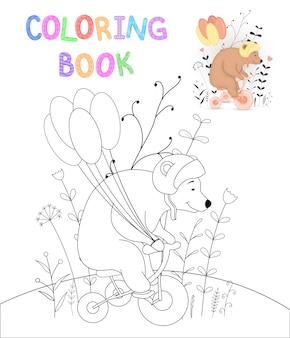 Libro de colorear de niños con animales de dibujos animados