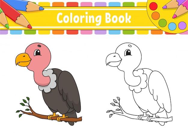 Libro para colorear para niños. carácter alegre ilustración de color vectorial estilo de dibujos animados lindo