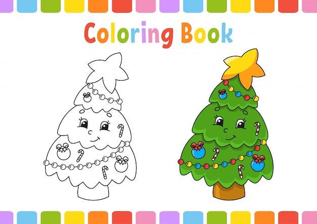 Libro para colorear para niños. carácter alegre ilustración vectorial estilo de dibujos animados lindo página de fantasía para niños.