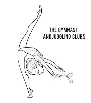 Libro de colorear para niños, clubes de gimnastas y malabares