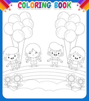 Libro para colorear para niños con dibujo de niños sosteniendo globos sobre un arco iris