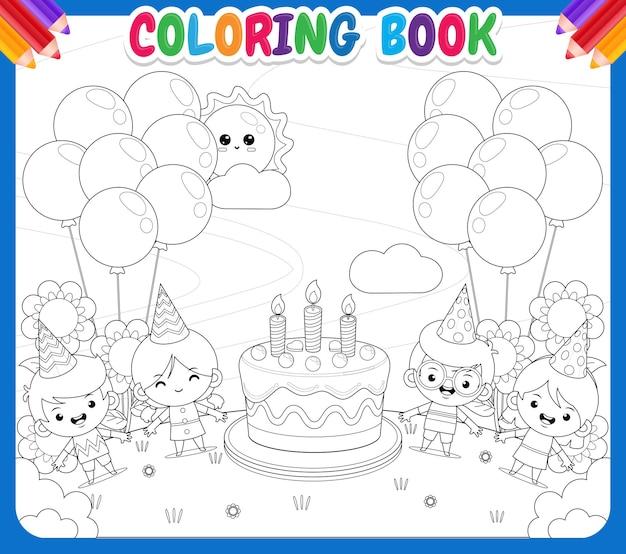 Libro de colorear para niños fiesta infantil con tarta de cumpleaños grande