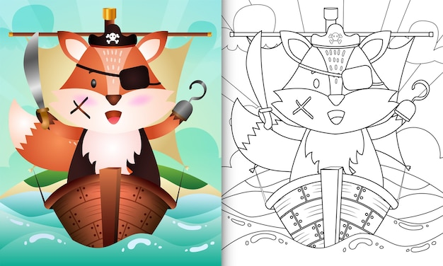 Libro para colorear para niños con una linda ilustración de personaje de zorro pirata en el barco