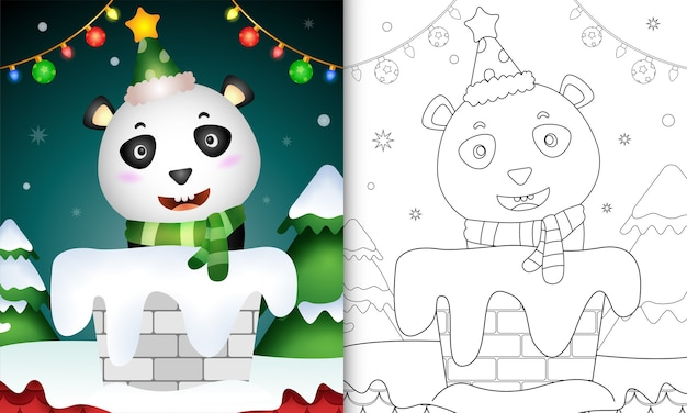 Libro para colorear para niños con un lindo panda con gorro de papá noel y bufanda en la chimenea