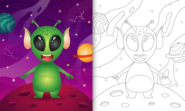 Libro de colorear para niños con un lindo unicornio en la galaxia espacial.