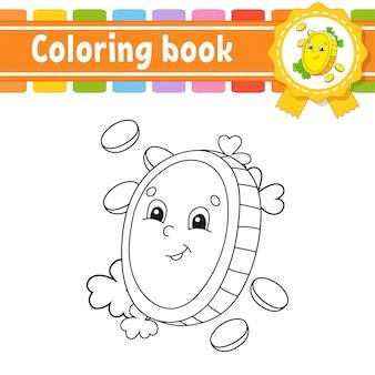 Libro para colorear para niños. moneda de oro. carácter alegre