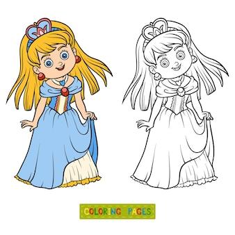 Libro de colorear para niños, personaje de dibujos animados, princesa