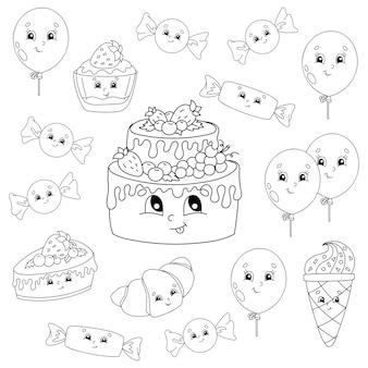 Libro de colorear para niños. tema de feliz cumpleaños. personajes alegres.