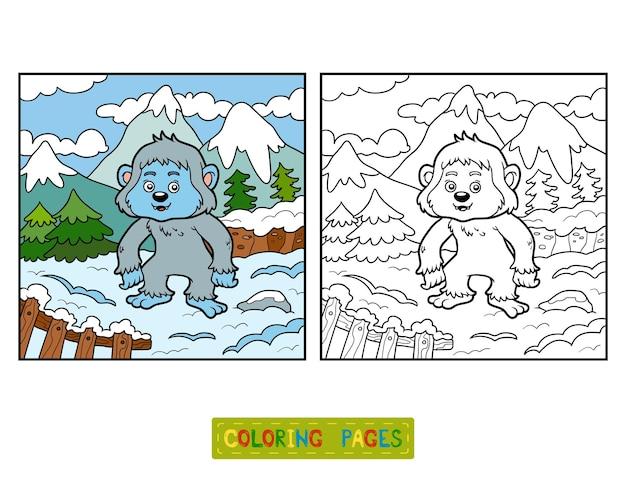 Libro de colorear para niños, yeti