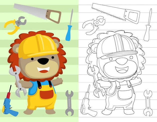 Libro para colorear o página con dibujos animados de león