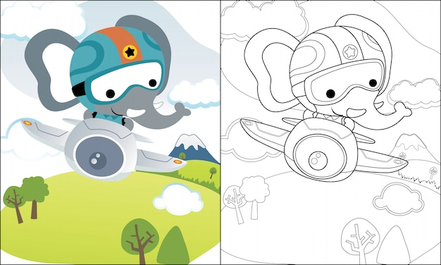 Libro para colorear o página con divertidos dibujos animados de elefantes en avión