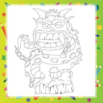 Libro para colorear - personaje de dibujos animados monstruo - ilustración vectorial