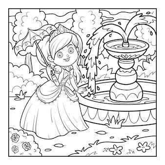 Libro de colorear, personaje de dibujos animados, princesa con paraguas