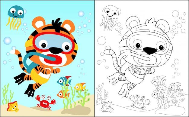 Libro para colorear con tigre bajo el agua