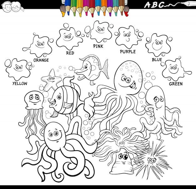 Libro de colores básicos con personajes de animales marinos.