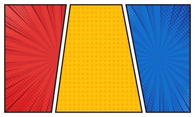 Libro de cómics en diferentes colores.