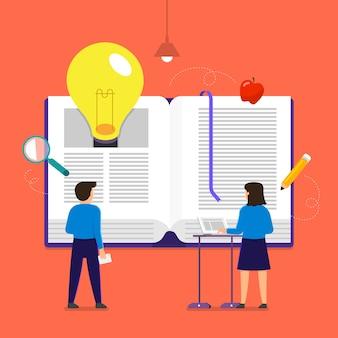 El libro conceptual de ilustraciones es conocimiento y una gran idea para las personas. ilustrar.