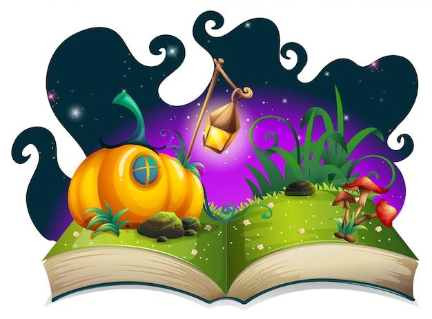 Libro de cuentos con casa de calabaza en la noche