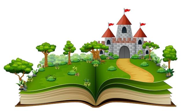 Libro de cuentos con un castillo en el parque verde