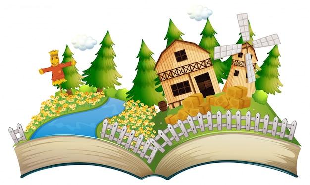 Libro de cuentos con espantapájaros en la granja