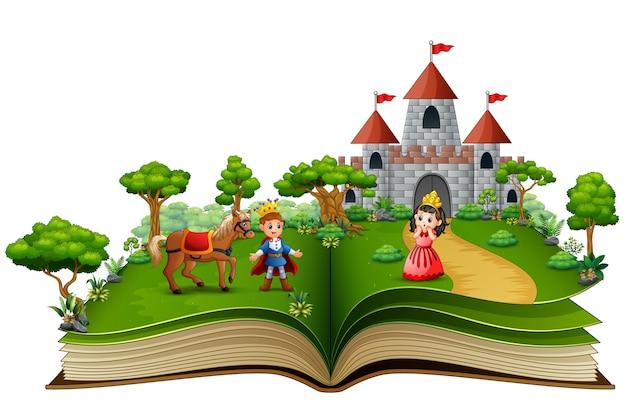 Libro de cuentos de príncipes y princesas en el patio real.